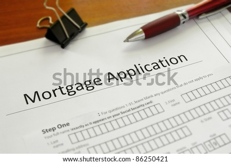 Closeup of a blank mortgage application form