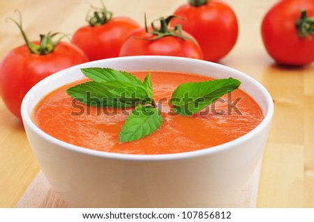 closeup of a bowl with delicious spanish gazpacho - stock photo