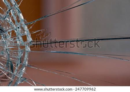 Closeup of a broken glass - stock photo