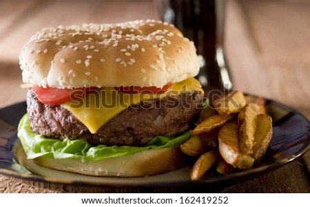 Closeup of a burger with fries