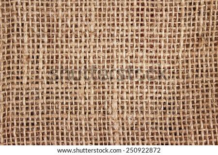 Closeup of a burlap texture background - stock photo
