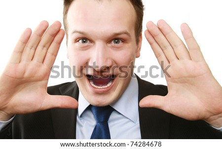 Closeup of a businessman screaming