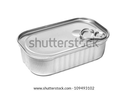 closeup of a can on a white background - stock photo