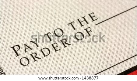 closeup of a check - stock photo