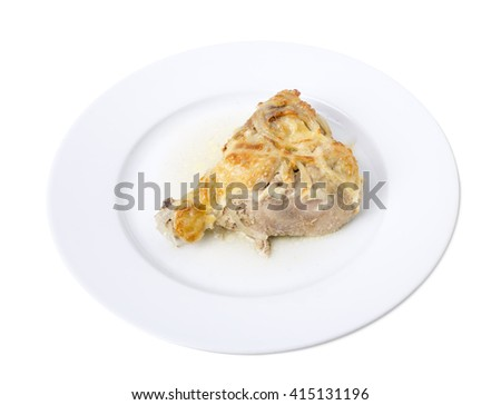 Closeup of a chicken drumstick fried with cheese. Isolated on a white background.