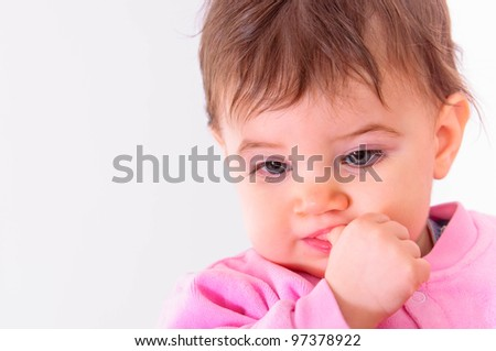 Closeup of a child against isolated background