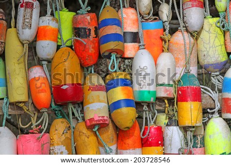Closeup of a Collection of Colorful Buoys