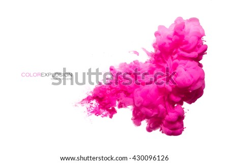 Closeup of a colorful acrylic ink in water isolated on white. Abstract background. Color explosion - stock photo