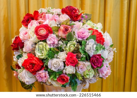 Closeup of a colorful wedding bouquet - stock photo