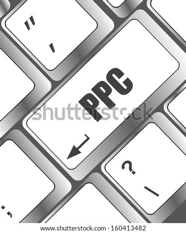 Closeup of a computer keyboard with ppc word, raster