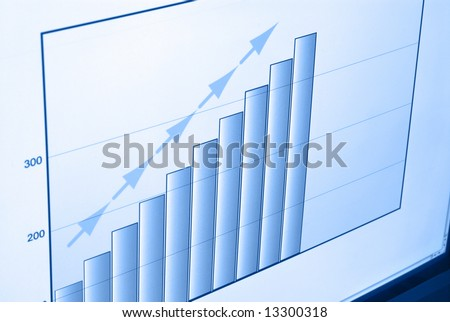 Closeup of a computer screen showing a self created graph, signifying growth of sales.