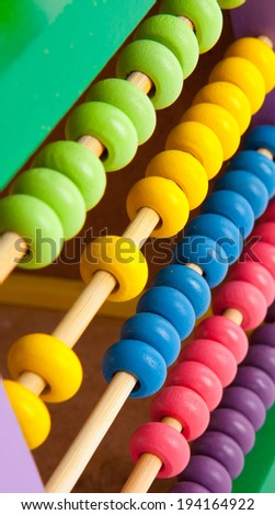 Closeup of a counting frame, abacus.