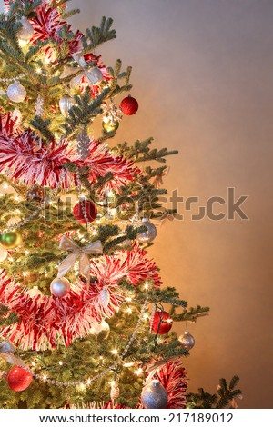 Closeup of a decorated Christmas tree - stock photo
