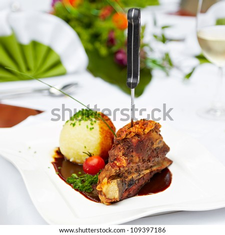 closeup of a delicious bavarian meal - stock photo