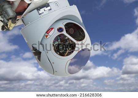 Closeup of a Drone Camera and Sensor Pod Module. - stock photo