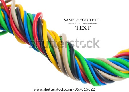 closeup of a electric cable on a white background. (selective focus) - stock photo