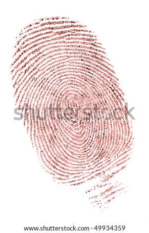 closeup of a fingerprint in red ink on white - stock photo
