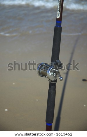 closeup of a Fishing Rod on a beach