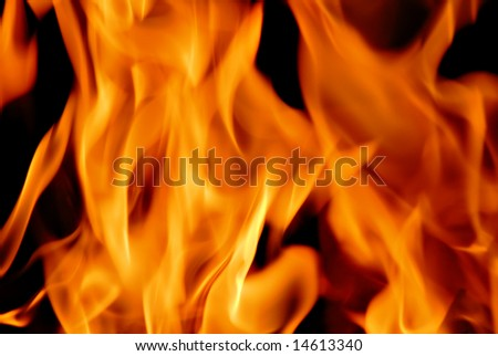 Closeup of a flaming fire.