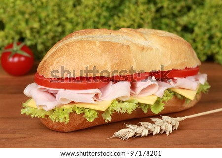 Closeup of a fresh sandwich with ham, cheese and lettuce - stock photo