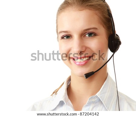 Closeup of a friendly customer service girl with a headset, isolated on white - stock photo