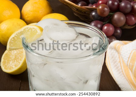 Closeup of a glass of sparkling water with a wedge of lemon - stock photo