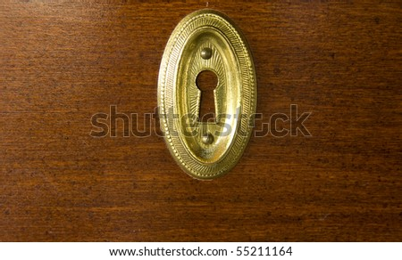 closeup of a golden keyhole on wood background