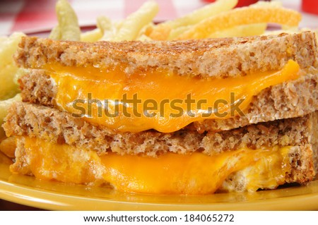 Closeup of a grilled cheese sandwich on whole grain bread - stock photo