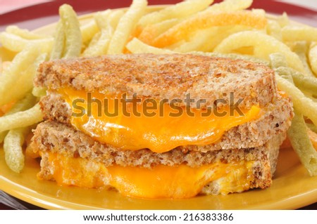 Closeup of a grilled cheese sandwich with veggie french fries - stock photo