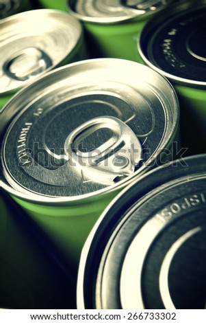 Closeup of a group of aluminium cans. - stock photo
