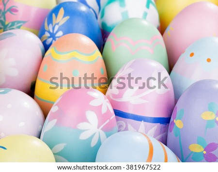 Closeup of a group of colorful Easter eggs