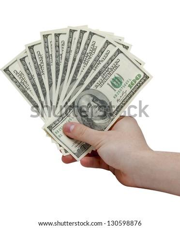 Closeup of a hand holding $100 banknotes. Isolated on white background. - stock photo