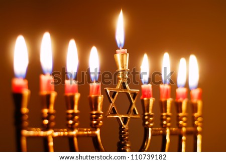 Closeup of a Hanukkah Menorah - stock photo