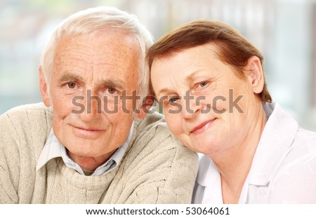 Closeup of a happy senior couple - stock photo