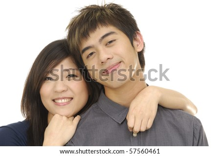 Closeup of a happy woman hugging young man