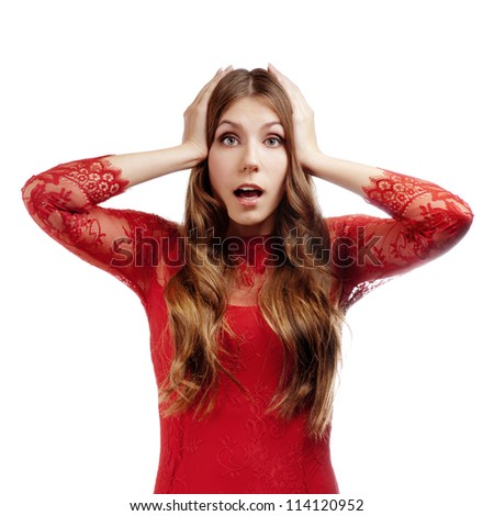 Closeup of a happy young woman surprised - stock photo