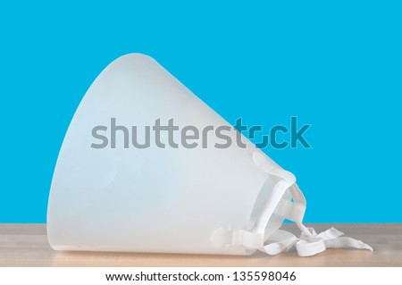 Closeup of a Head Cone for a Dog, Cat or other Animal - stock photo