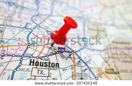 Closeup Houston Texas Map Red Pin Stock Photo 207420148 Shutterstock