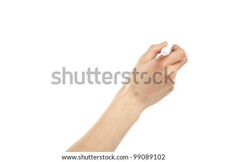 Closeup of a human hand writing with marker isolated on white; copy space - stock photo