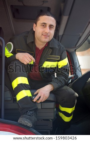 Closeup of a Italian fireman - stock photo