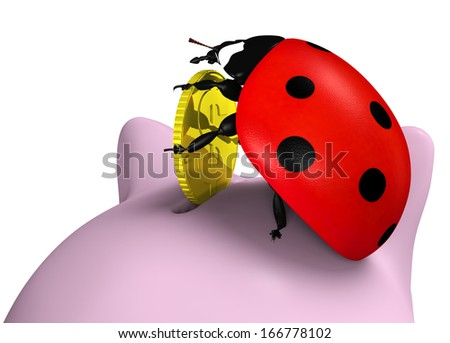 closeup of a ladybird on top of a piggy bank that stands up and puts a golden coin into its slot, on a white background