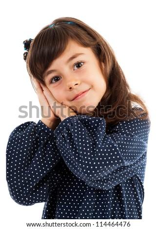 Closeup of a little sleepy girl isolated on white - stock photo