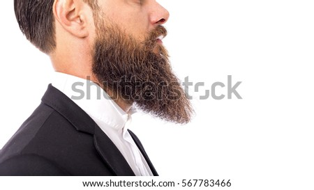 Closeup of a man beard and mustache, perfect beard