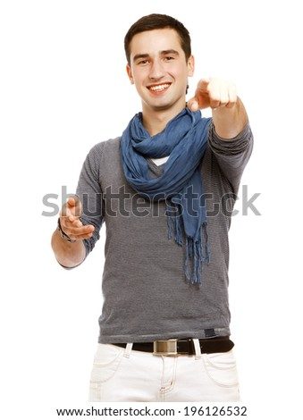 Closeup of a man pointing at you , isolated on white background
