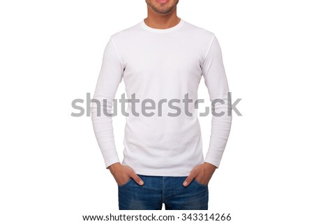 Closeup of a man wearing a white t-shirt with long sleeves