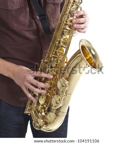 Closeup of a man wearing brown shirt is playing the saxophone, only the instrument, hands and part of the man's body are shown - isolated on white - stock photo