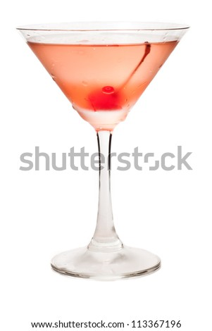closeup of a manhattan cocktail isolated on a white background garnished with a cherry - stock photo