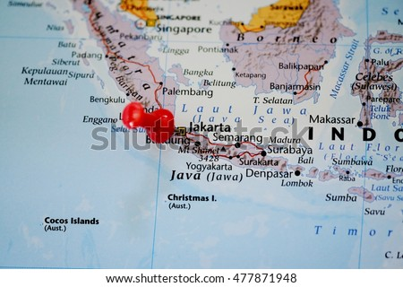 Closeup map jakarta indonesia red pin stock photo edit now closeup of a map of jakarta indonesia and red pin gumiabroncs Image collections