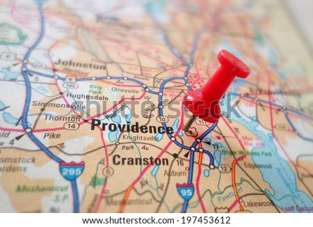 Closeup of a map of Providence, Rhode Island                                - stock photo