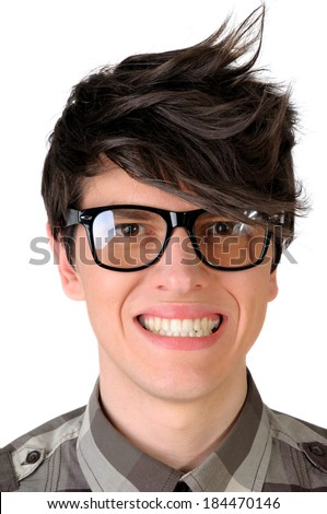 Closeup of a nerdy office worker faking a smile, isolated on white - stock photo